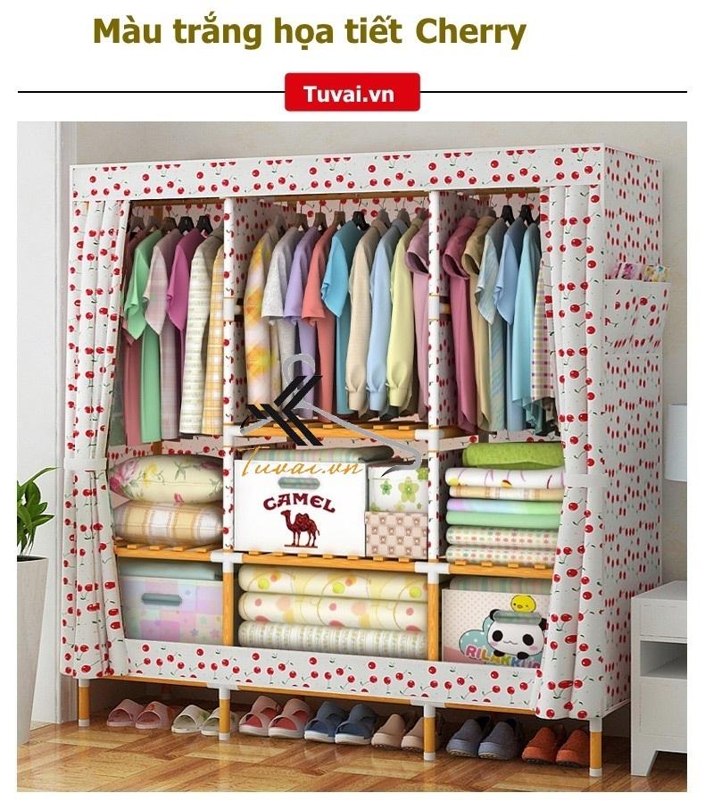 Tủ vải khung gỗ bọc nhựa Camel khổ 1m5 áo vải dầy màu Cherry