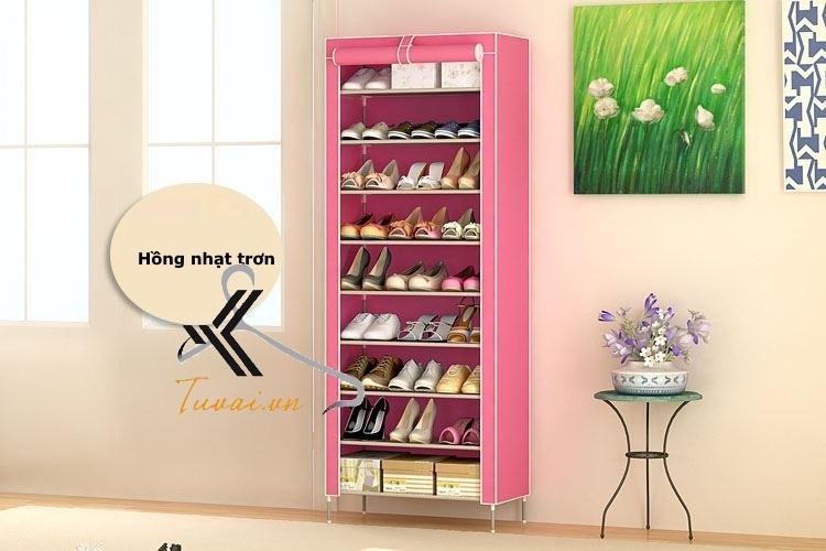Tủ vải để giày 9 tầng màu hồng trơn