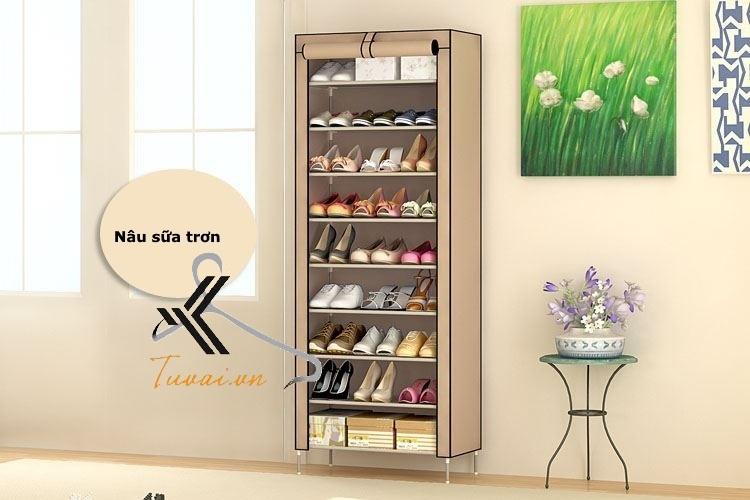 Tủ vải để giày 9 tầng màu nâu sữa trơn
