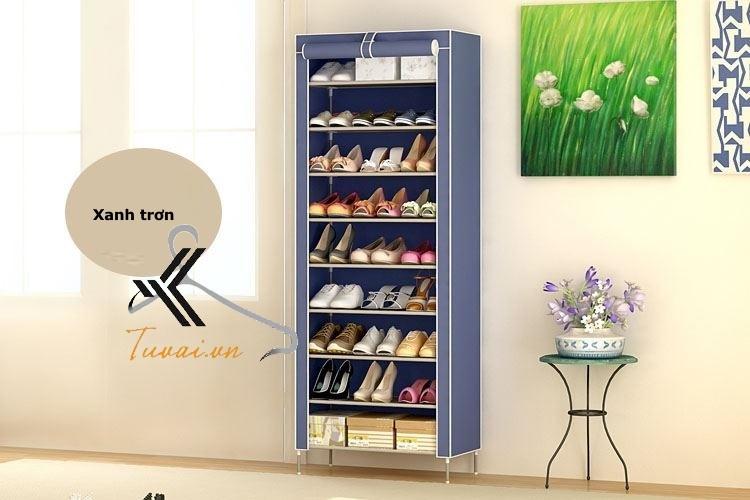 Tủ vải để giày 9 tầng màu xanh trơn