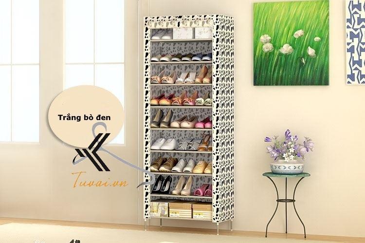 Tủ vải để giày 9 tầng màu trắng đen