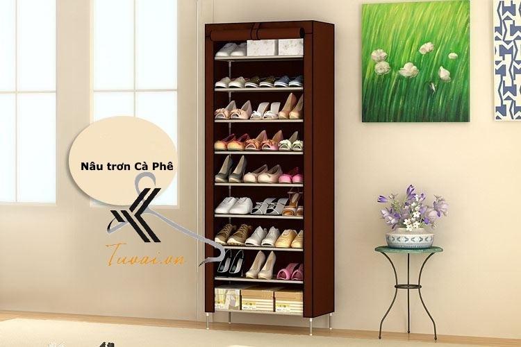 Tủ vải để giày 9 tầng màu nâu trơn