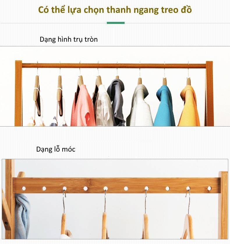 Thanh treo quần áo của giá treo GT02 có 2 lựa chọn