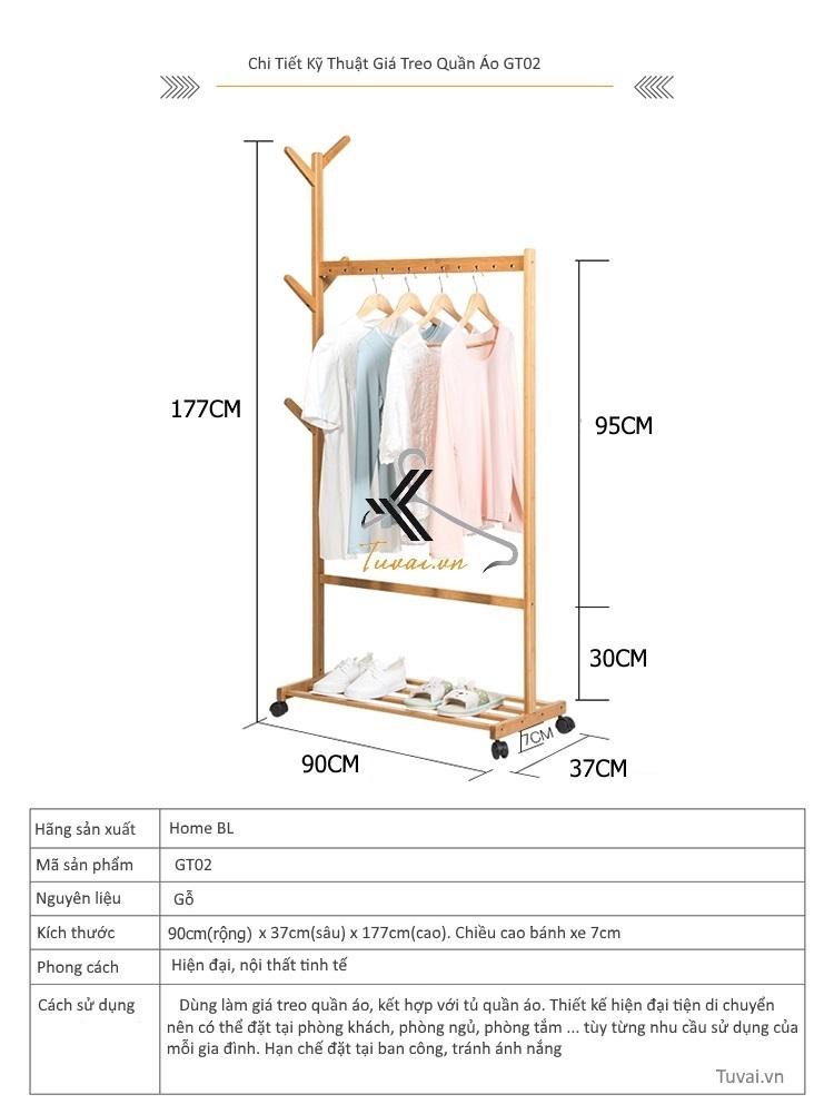 Thông số kỹ thuật giá treo quần áo GT02