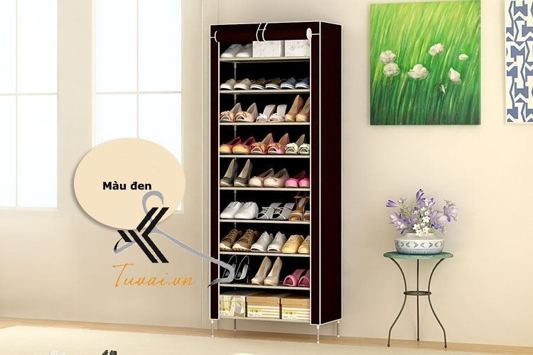 Tủ vải để giày 9 tầng màu đen