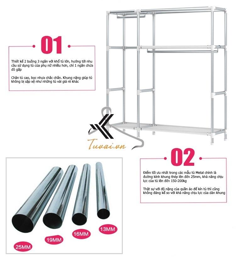 Đặc điểm riêng thứ nhất là khung thép to 25mm tăng khả năng chịu lực cho tủ