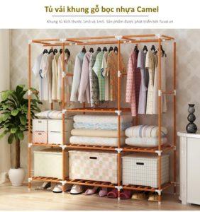 Tủ vải khung gỗ bọc nhựa Camel 3 buồng 7 ngăn
