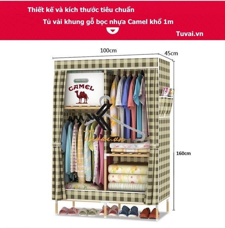 Thông số chi tiết tủ vải khung gỗ Camel khổ 1m