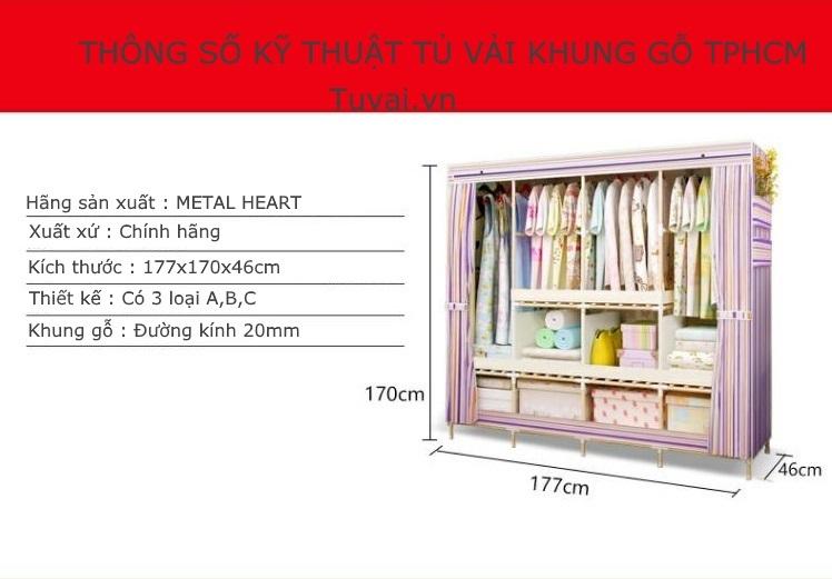 Tủ vải khung gỗ TPHCM nặng tới 13,6kg