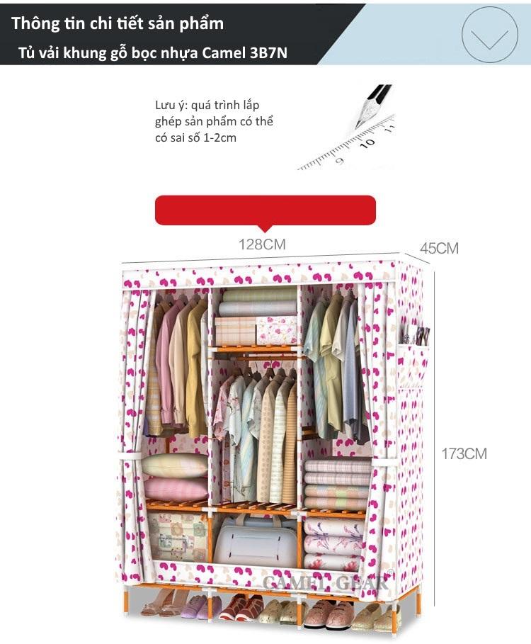 Thông tin sản phẩm tủ vải khung gỗ bọc nhựa Camel 3B7N