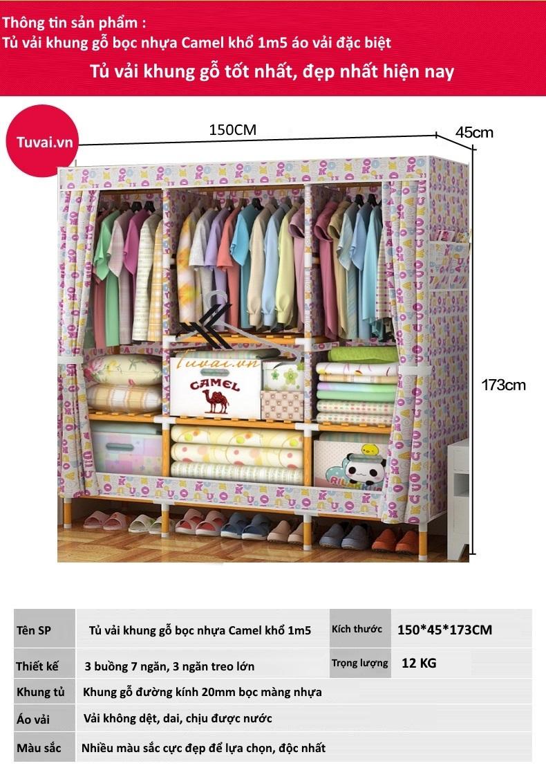 Thông tin sản phẩm tủ vải khung gỗ Camel khổ 1m5