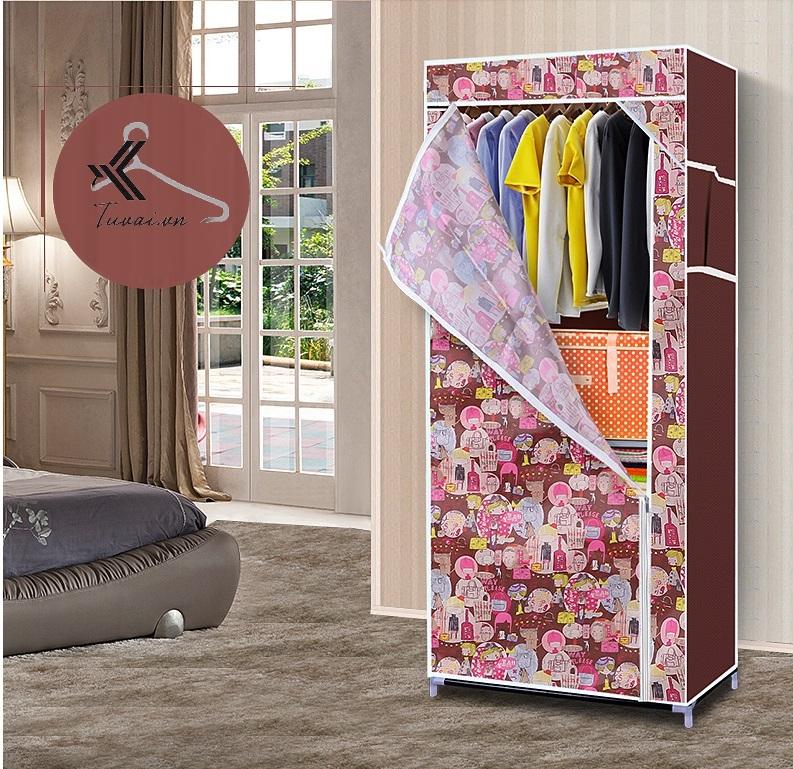 Tủ vải nhỏ nhất màu hồng hoạt hình