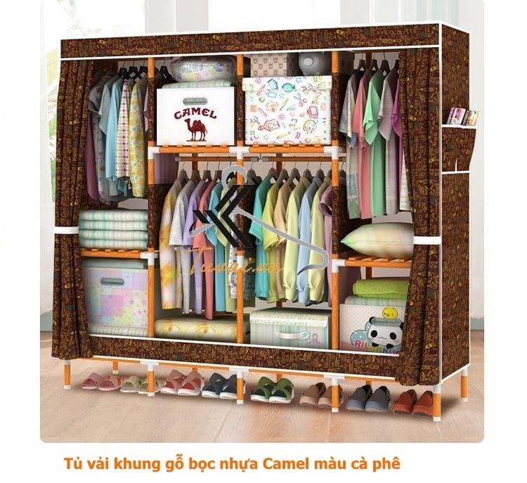 Tủ vải khung gỗ bọc nhựa Camel 4B8N màu cafe