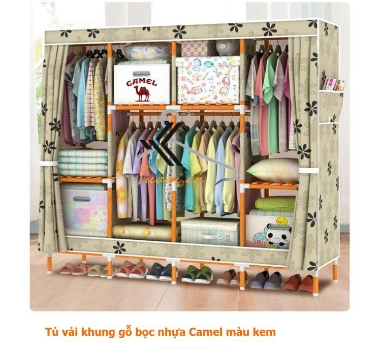 Tủ vải khung gỗ bọc nhựa Camel 4B8N màu kem