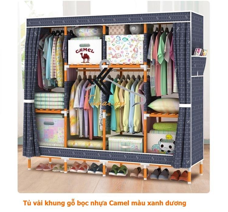 Tủ vải khung gỗ bọc nhựa Camel 4B8N màu xanh dương