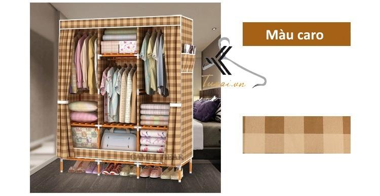Tủ vải khung gỗ bọc nhựa Camel 3B7N màu caro