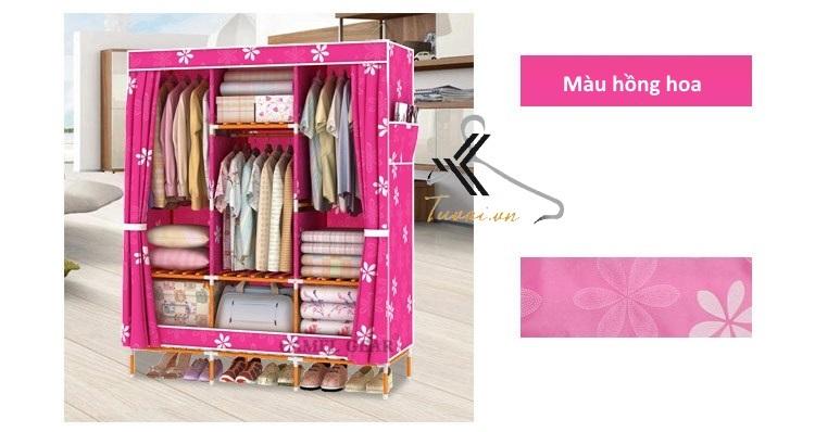 Tủ vải khung gỗ bọc nhựa Camel 3B7N màu hồng