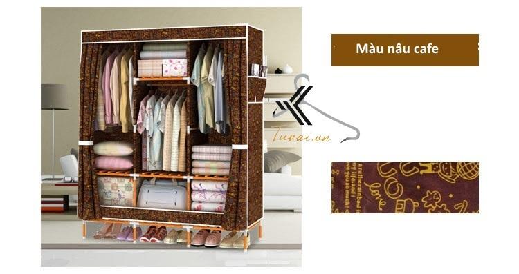 Tủ vải khung gỗ bọc nhựa Camel 3B7N màu nâu cafe