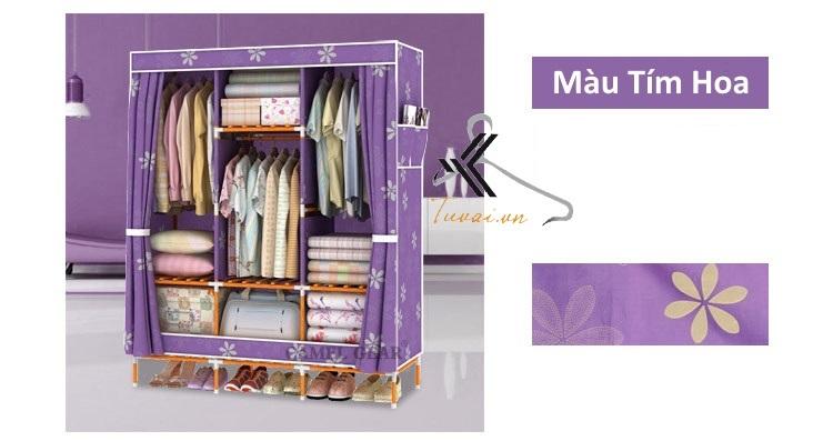 Tủ vải khung gỗ bọc nhựa Camel 3B7N màu tím hoa