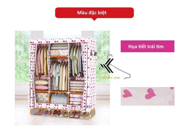 Tủ vải khung gỗ bọc nhựa Camel 3B7N họa tiết trái tim