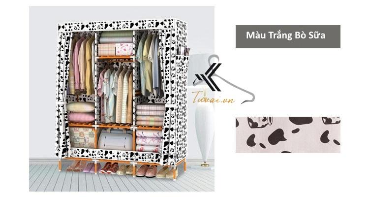 Tủ vải khung gỗ bọc nhựa Camel 3B7N màu trắng đen