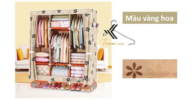 Tủ vải khung gỗ bọc nhựa Camel 3B7N màu vàng hoa