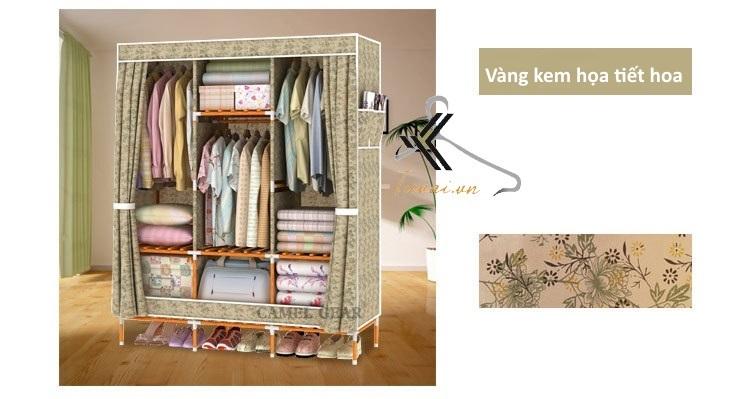 Tủ vải khung gỗ bọc nhựa Camel 3B7N màu vàng kem họa tiết