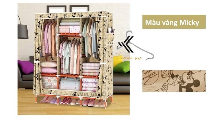 Tủ vải khung gỗ bọc nhựa Camel 3B7N màu vàng micky