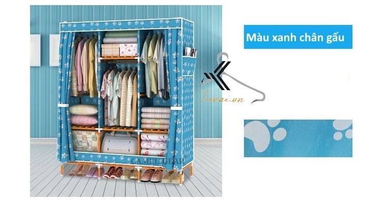 Tủ vải khung gỗ bọc nhựa Camel 3B7N màu xanh chân gấu