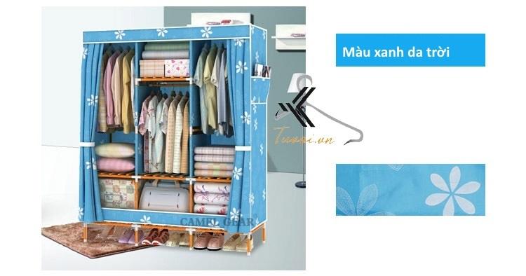 Tủ vải khung gỗ bọc nhựa Camel 3B7N màu xanh da trời