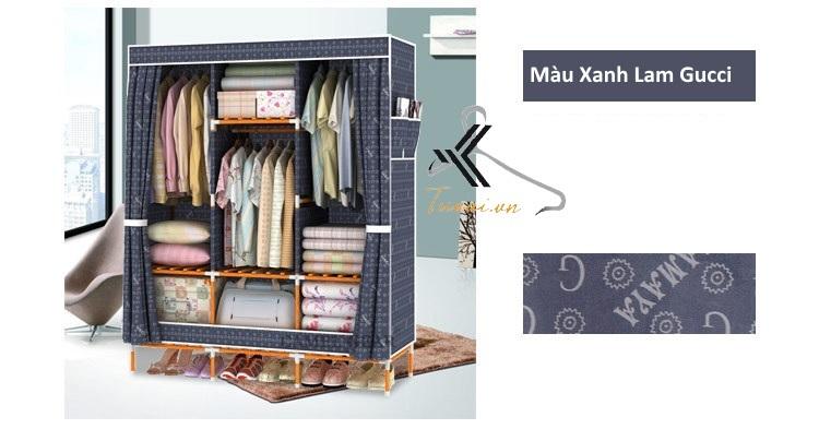 Tủ vải khung gỗ bọc nhựa Camel 3B7N màu xanh lam
