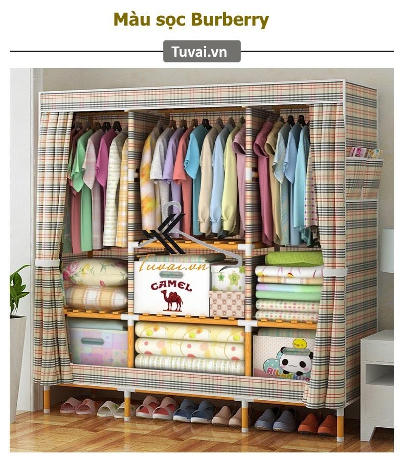 Tủ vải khung gỗ bọc nhựa Camel khổ 1m5 áo vải dầy màu Burberry
