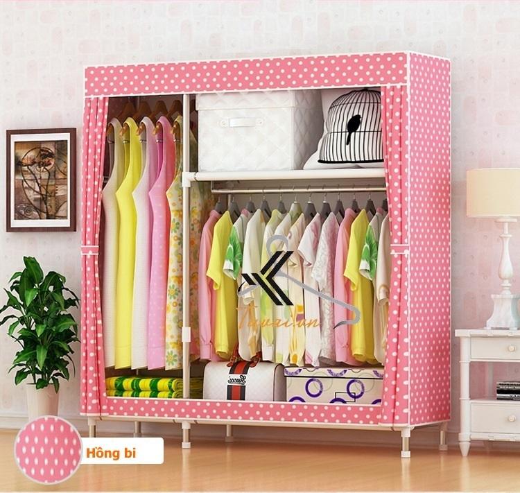 Tủ vải Metal 2B3N màu hồng chấm bi