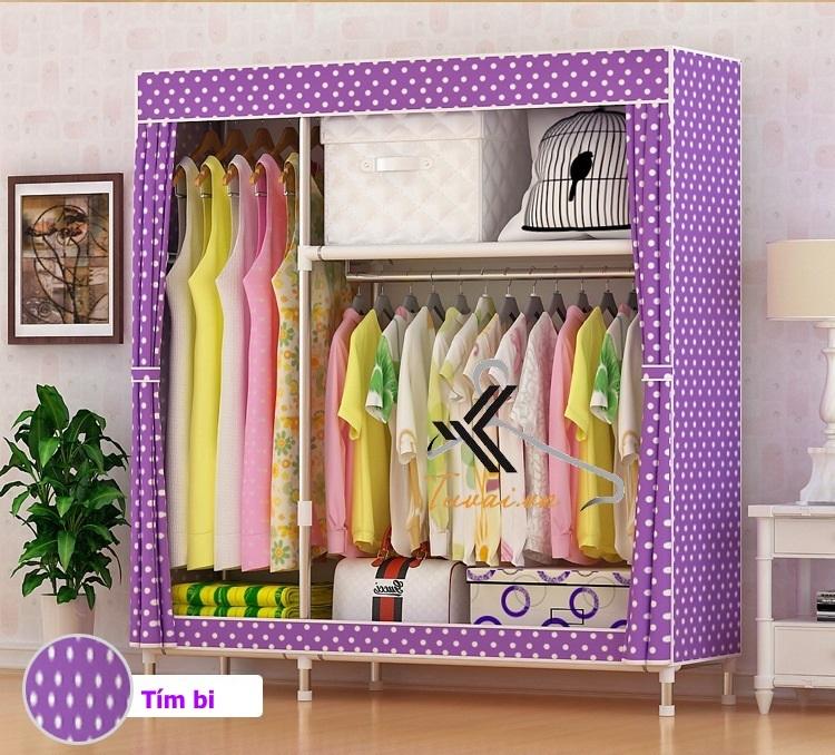 Tủ vải Metal 2B3N màu tím chấm bi
