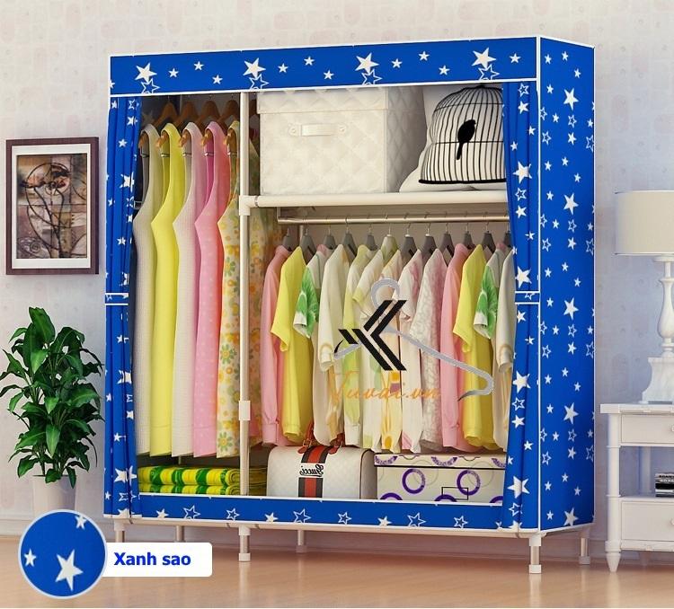 Tủ vải Metal 2B3N màu xanh sao