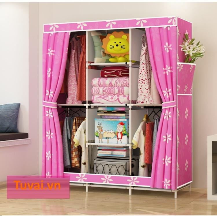 Tủ vải màu hồng giá rẻ 3 buồng 8 ngăn