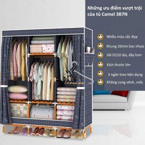 Tủ vải khung gỗ bọc nhựa Camel 3B7N