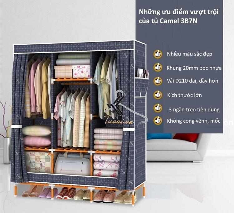 Ưu điểm của tủ vải khung gỗ bọc nhựa Camel 3B7N