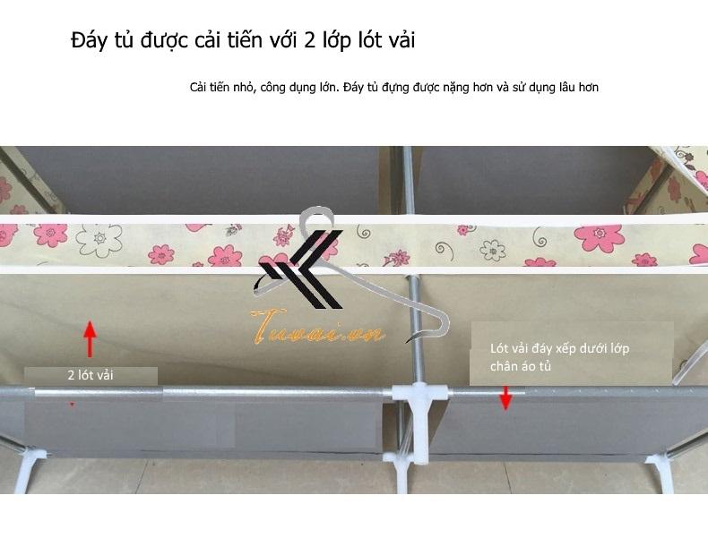 Đáy tủ 2 lớp của tủ vải giá rẻ 3 buồng 8 ngăn, 3 ngăn treo Broadwood GY-05