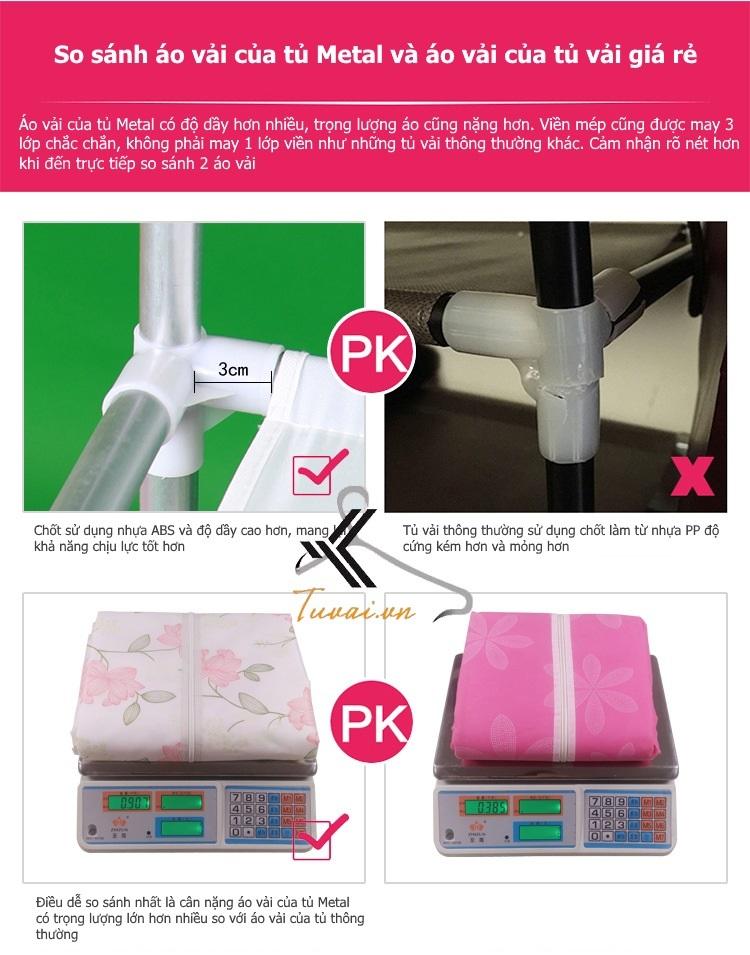 So sánh giữa tủ vải 3 buồng 8 ngăn cao cấp khung thép và áo vải tủ giá rẻ