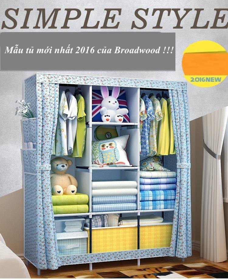 Tủ vải giá rẻ 3 buồng 8 ngăn, 2 ngăn treo Broadwood