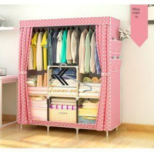 Tủ vải 3 buồng 8 ngăn màu hồng chấm bi