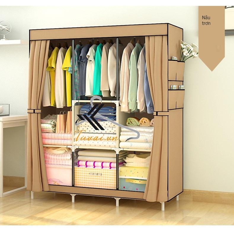 Tủ vải 3 buồng 8 ngăn màu hồng nâu sữa