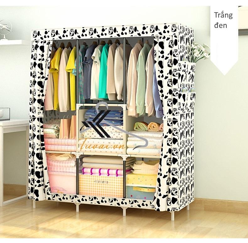 Tủ vải 3 buồng 8 ngăn màu trắng đen