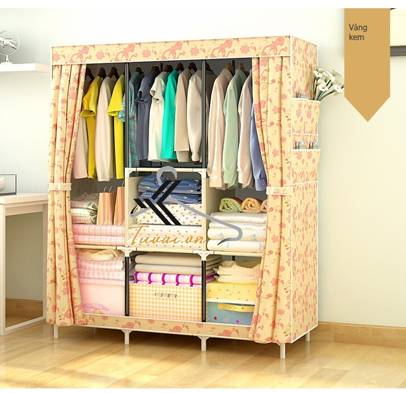 Tủ vải 3 buồng 8 ngăn màu vàng kem