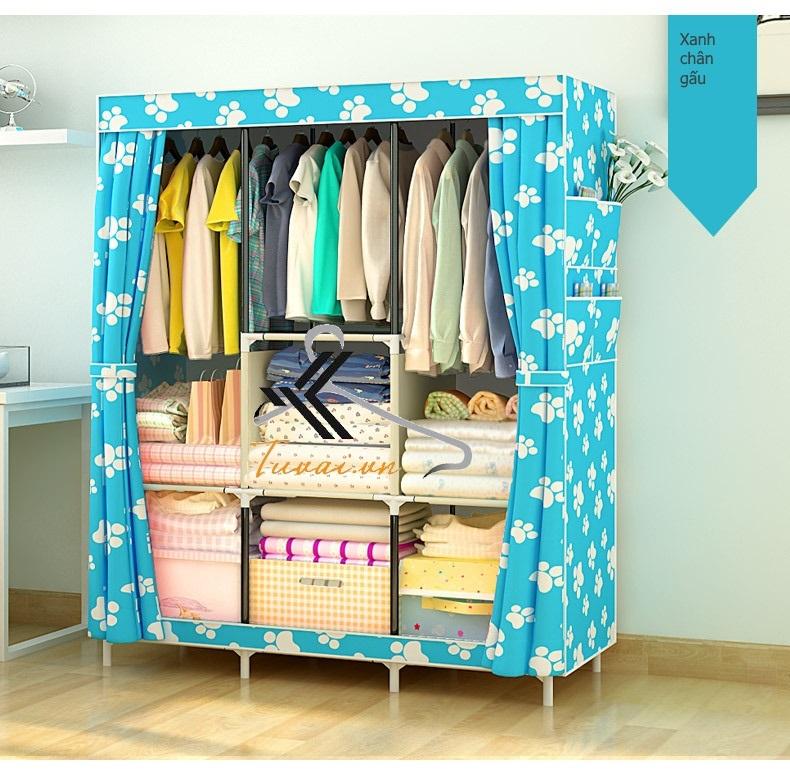 Tủ vải 3 buồng 8 ngăn màu xanh chân gấu