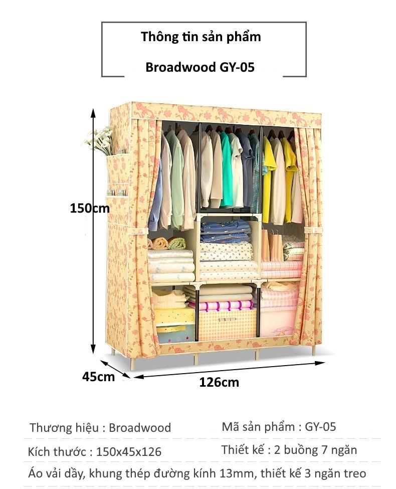 Thông số tủ vải 3 buồng 8 ngăn, 3 ngăn treo Broadwood GY-05