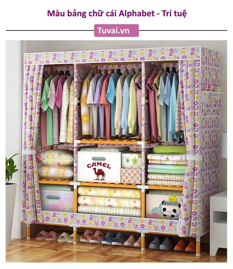 Tủ vải khung gỗ bọc nhựa Camel khổ 1m5 màu bảng chữ cái
