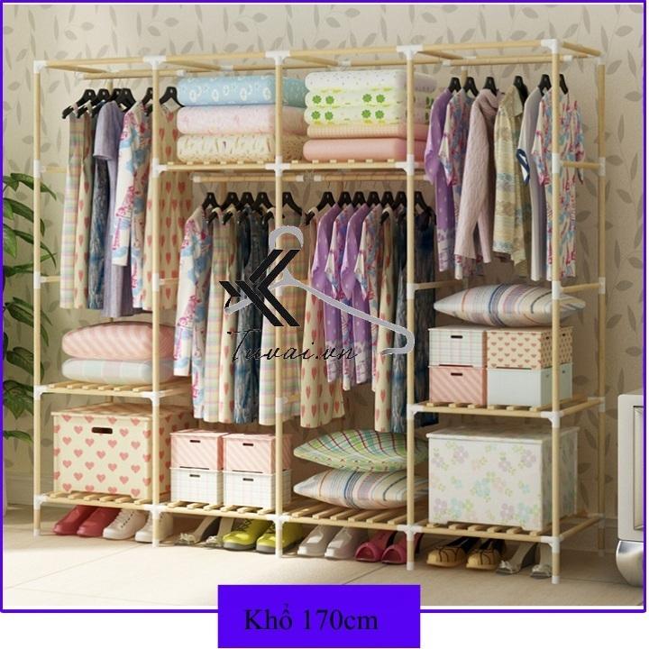 Tủ vải đựng quần áo khung gỗ Hurhada