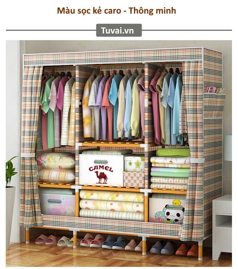 Tủ vải đựng quần áo khung gỗ Camel